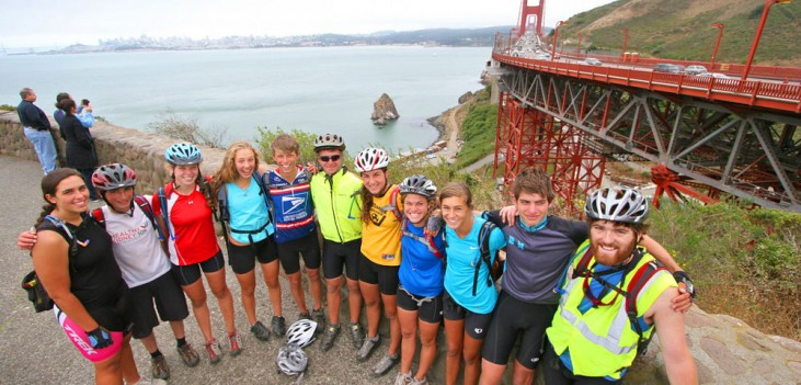 Apogee Adventures teen bike trip crossing the Golden Gate Bridge