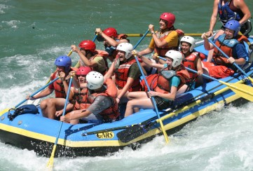 Apogee Adventures teen hiking trip white water rafting the American River in California