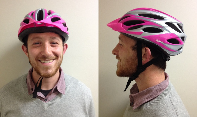 Jack, on the other hand, is ready to ride! The helmet fits well, the chin strap is properly tightened, and it forms a Y below his ears. Good job, Jack!